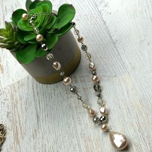 Vintage white beaded Y Necklace